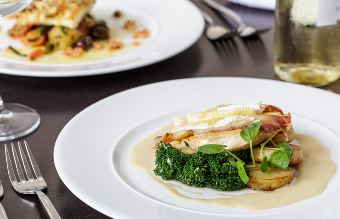 Pan-fried chicken breast with Brie and bacon, Chateau Impney, Droitwich